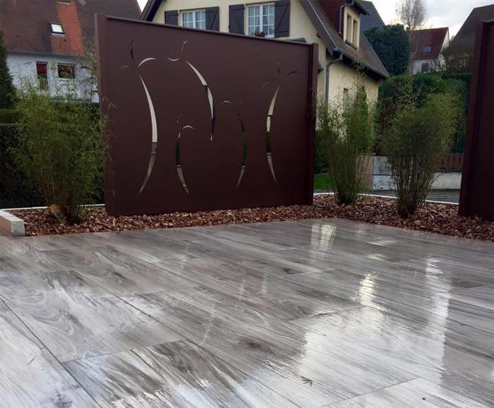 Brise vue en acier corten plateforme compostage et produits pour jardins sprinar compotech - Brise vue acier corten ...